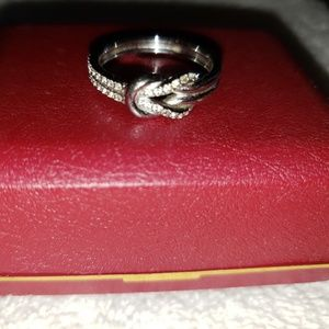 Sterling silver cubic zirconium double knot ring